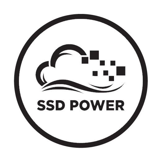 Badge image that shows the SSD powered servers we use.